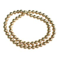 """Designer 1950s 14K Yellow Gold Round Beaded Necklace 24"""" 48 grams"""