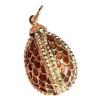 Large 18K Yellow Gold Faberge Style Enamel Egg Charm Pendant one inch 5.7 grams