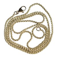 14K  Yellow Gold 1.5 mm Wheat Woven Chain Necklace 20.5 inches 5 grams
