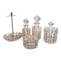 Antique 5-Pc Baccarat French Crystal Dresser Set Powder Jar Perfume Bottle 22K Trim