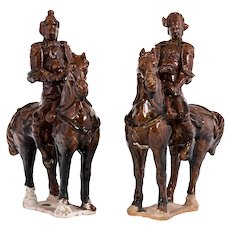 C1900s Chinese Shiwan Brown Drip Glazed Terra Cotta Warrior on Horse Back Mantle Figurines