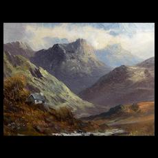 Cedric Gray (British, 1800 - 1900) Oil Paining on Canvas Landscape Scottish Glen Mountains