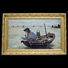 Oil on Canvas Boy Fishing Attributed to Antonio Ermolao Paoletti (Venezia 1833 - 1913)