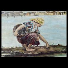 Oil on Canvas Digging Clams Attributed to Antonio Ermolao Paoletti (Venezia 1833 - 1913)