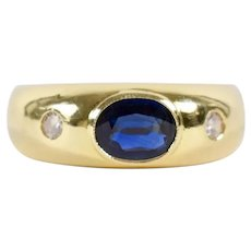 18K Yellow Gold Gypsy Ring 1.5 Carat Royal Blue Sapphire Diamond Size 9 1/2