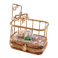 Limoges Trinket Box Baby in Crib with Mobile Limited Edition