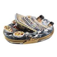 Limoges France Trinket Box Sinking Titanic Ocean Liner Limited Edition