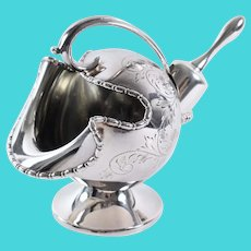 Sheffield England Silverplate Helmet Sugar Scuttle and Scoop By Viners Hand Engraved
