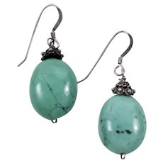 Natural Sleeping Beauty Turquoise Drop Earrings with Sterling Silver Hook Findings
