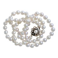 Lustrous Matinee Cultured Pearl Necklace 23 inches 14K Yellow Gold Art Deco Style Clasp