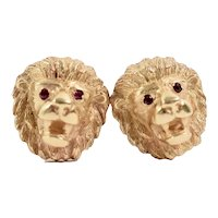 Whimsical 14K Yellow Gold 3-D Lion Head Earrings Ruby Eyes