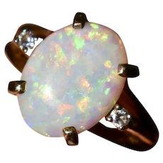 Vintage Australian Fire Opal Diamond Dinner Ring Size 7