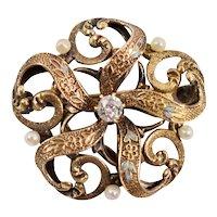 Victorian 14K Yellow Gold Diamond (0.17 Carat) Seed Pearl Swirl Brooch Locket Watch Pin 3.9 grams