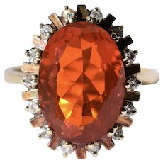 Vintage 14K Yellow Gold Mexican Fire Opal Diamond Halo Ring Size 7