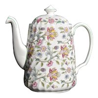 Minton Haddon Hall Large Bone China Coffee/Tea Pot Chintz Flowers with Lid B-1451