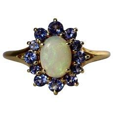 14K Yellow Gold Australian White Opal Iolite Halo Ring Size 10
