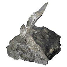 Sterling Silver Realistic Eagle Sculpture Artist Signed WL