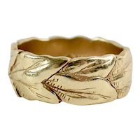 Art Nouveau Style 14K Yellow Gold Designer Figural Tobacco Leaves Wide Band Ring Size 7 3/4