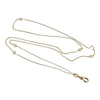 14K Yellow Gold Natural River Pearls 28 inches Muff Chain Necklace with Dog Clip