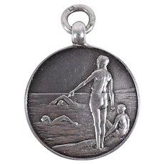 C1908 English Birmingham Sterling Silver Swimming Medal FOB Pendant by TJS