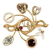 14K Yellow Gold Art Nouveau Brooch made from Stick Pins Diamond, Tourmaline Enamel, Love Knot, Garnet, Blue Topaz and Pearls