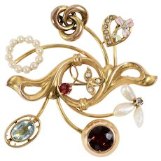 14K Yellow Gold Art Nouveau Brooch made from Stick Pins Diamond, Tourmaline Enamel, Love Knot, Garnet, Blue Topaz and Pearls