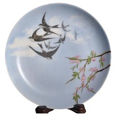 Haviland & Co. Limoges Hand Painted Plate with Swallows Martin Birds over Plum Tree, Circa 1880's