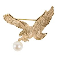 14K Yellow Gold Realistic Descending Eagle Brooch Pin with Cultured Pearl Dangle