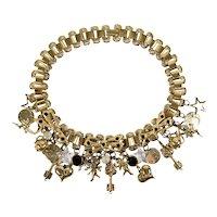 "Victorian Revival Multi Charm Book Chain Necklace 17"""