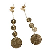 Fashionable 14K Yellow Gold Hammered Disk Dangling Earrings by Zoe B