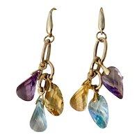 14K Yellow Gold Italian Designer Dangling Earrings Multi-gem Stone Blue Topaz, Amethyst and Citrine