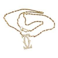 Iconic C de Cartier Diamond Pendant Necklace 18K Yellow Gold