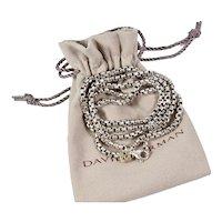 "David Yurman Sterling Silver Box Chain Necklace 32"" Long 3.6mm 14k Tag"