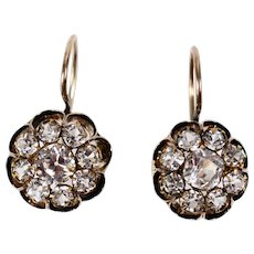 Victorian 14K Gold Black Enamel Old Mine Cut Paste Dormeuse Earrings