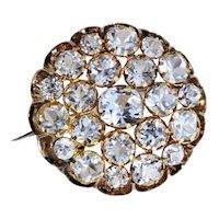 Victorian 14K Gold Black Enamel Old Mine Cut Paste Pin Brooch