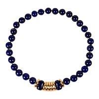 "Retro Designer 17"" Lapis Lazuli Beaded Necklace 18K Yellow Gold Center Piece"