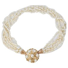 Amazing Designer Multi Strand Cultured Pearls Necklace Pendant and Brooch