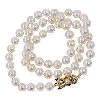 "Classic Mikimoto Single Strand Akoya Pearl Necklace 18.5"" 7 - 6.5 mm 18K Yellow Gold Clasp"