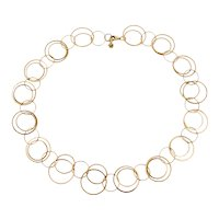 Italian Designer 14K Yellow Gold Double Circles Charm Link Necklace