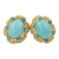 18K Yellow Gold Italian Designer Turquoise Cabochon Statement Clip on Earrings