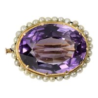 Art Deco 14K Yellow Gold Amethyst Seed Pearl Pin Brooch 15 Carat