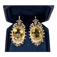 Victorian Etruscan Revival 14K Yellow Gold Citrine Seed Pearl Earrings