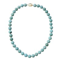 Vintage Large Turquoise Beads Necklace 22 inches 18K Clasp