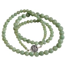 """Vintage Chinese Graduated Aventurine Beads Necklace 26"""" Sterling Silver Fu Clasp"""