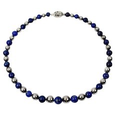 Beautiful Sterling Silver Lapis Lazuli Beaded Necklace Floral Clasp 22 inches