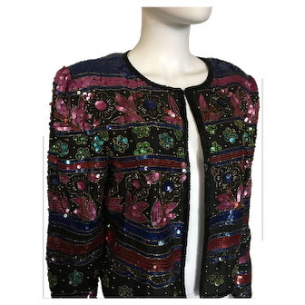 Vintage Adrianna Papell Jacket Sequins in Floral Design Long Sleeves