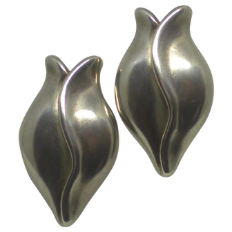 1995 Signed Vintage Helen Blythe-Hart Sterling Silver TULIP Earrings with 18 Karat Gold posts