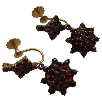 Victorian Bohemian Garnet Cluster Drop Earrings Gilt and 9 Karat Gold Screwbacks