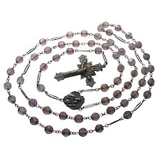 Antique Saphiret Bead French Rosary Necklace