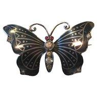 Antique Butterfly Niello Paste Silver Art Nouveau Brooch
